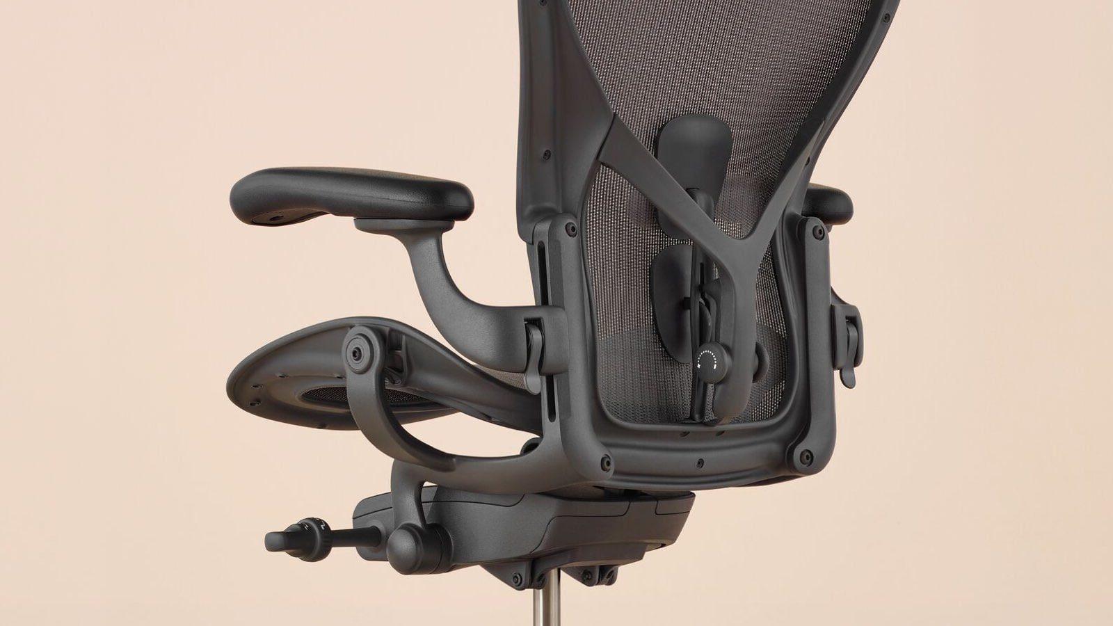 herman miller aeron chair close up ergonomic detail