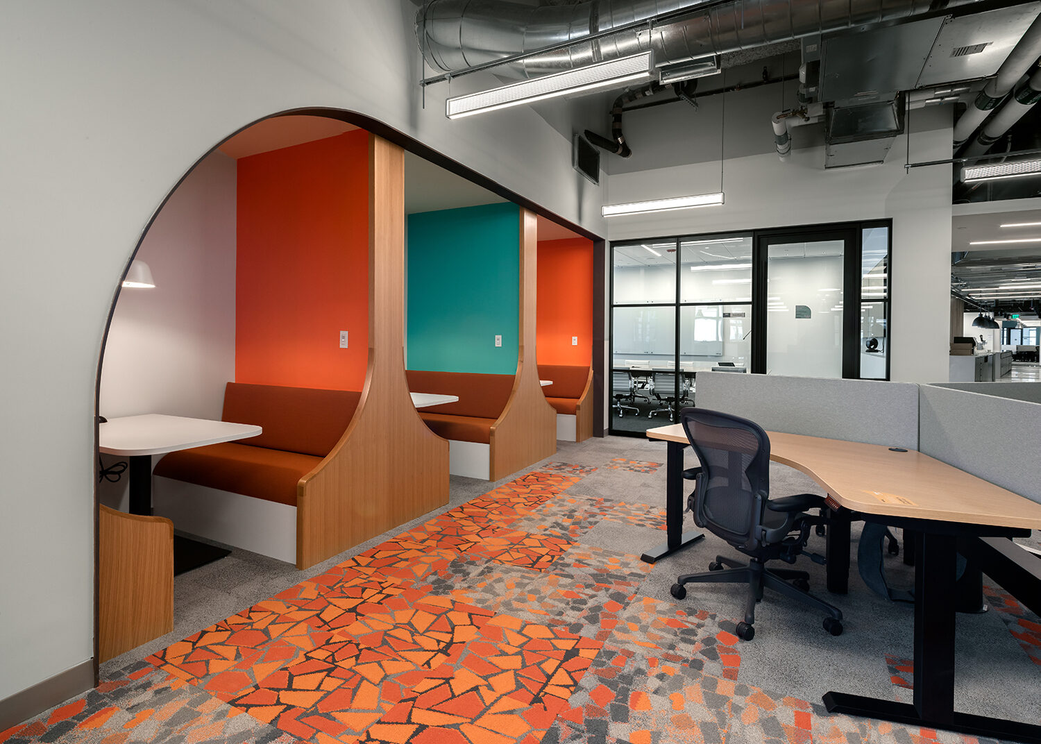 Cambridge based Thrive meeting booths brand incorporation bright colored offices