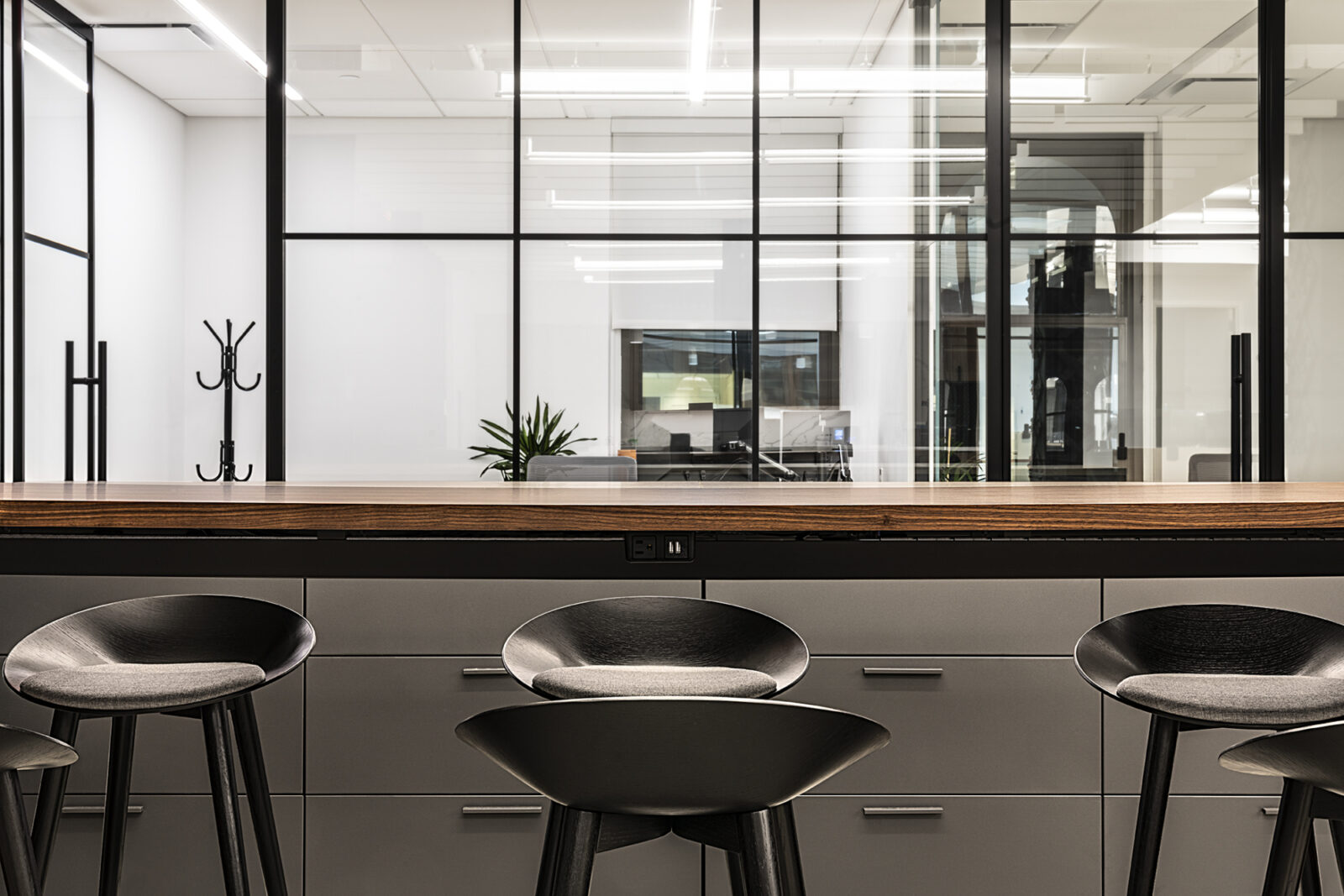 Creative Office Pavilion NYC Bar Height Collaboration with Stools Open Plan Office Space New England Furniture dealer