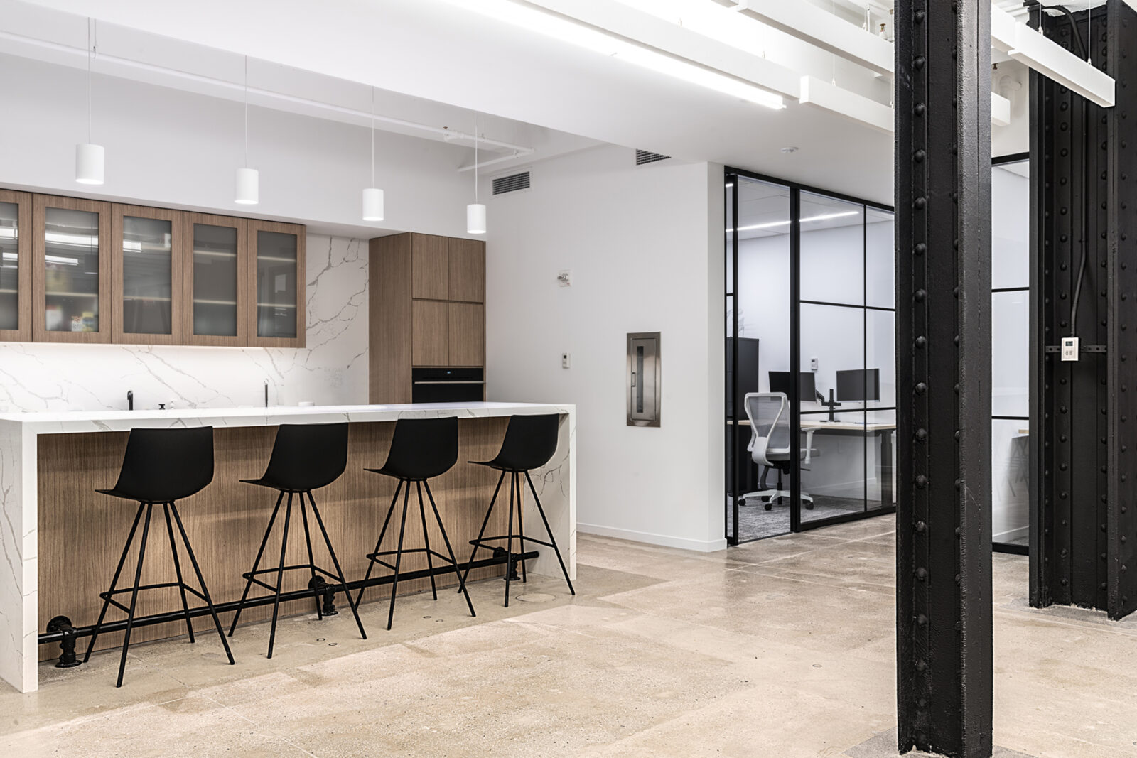 Cafe and Touchdown meeting area for Real Estate Client at Creative Office Pavilion New York City NYC