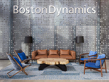 lobby, reception area, boston dynamics, wood table, leather couch, crosshatch