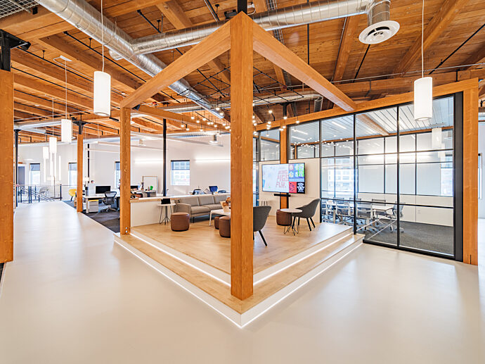 DIRTT Timber framed lounge seating area