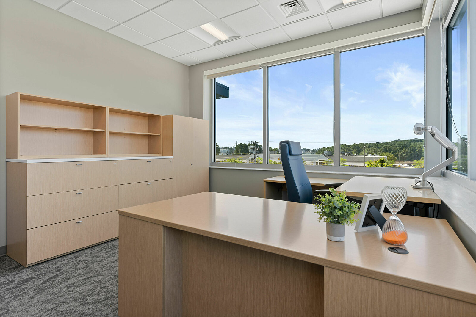 private office, task chair, height adjustable desk, office storage