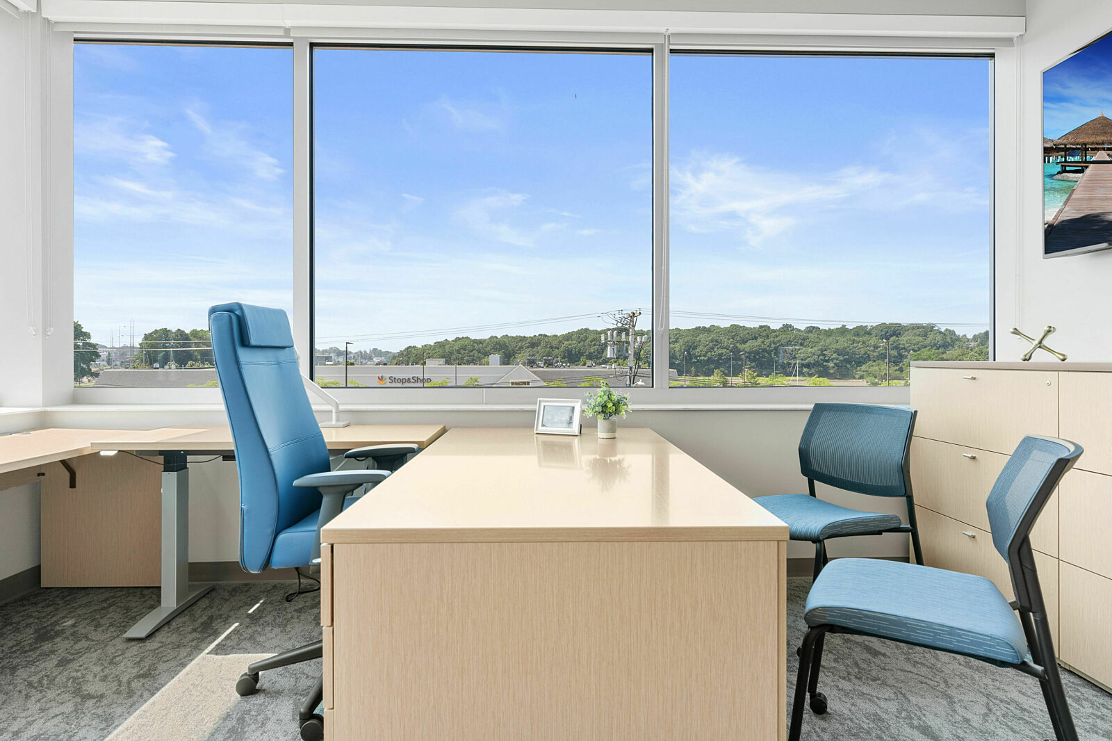 private office, task chair, side chair, height adjustable desk