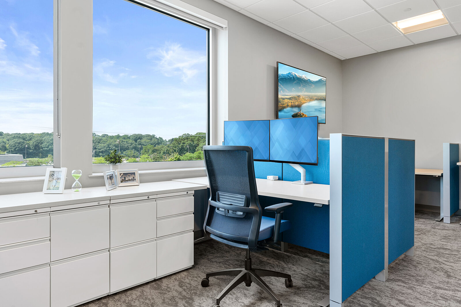 workstation, office, task chair, office chair, blue, storage, monitor arms